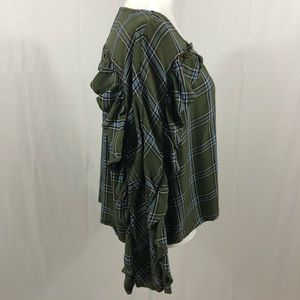 Tinseltown Tops - Tinseltown Plaid Ruffle Sleeve Top, Size Medium